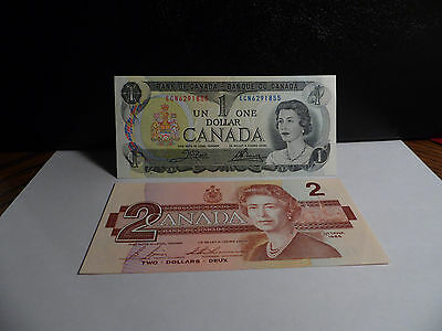 Canadian Uncirculated 1973  $1.00 & 1986  $2.00 Banknotes