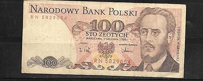POLAND #143e 1986 VG CIRCULATED 100 ZLOTYCH OLD CURRENCY BANKNOTE PAPER MONEY