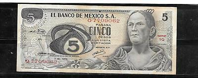 MEXICO MEXICAN #62a 1969 5 PESO VG USED OLD BANKNOTE PAPER MONEY CURRENCY  NOTE