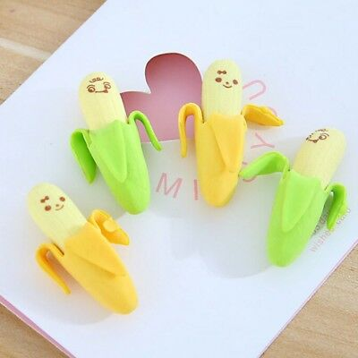 4pcs/set Banana Rubber Pencil Eraser Novelty Stationery Toy For Children Kids