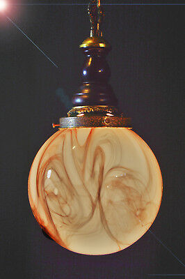 Large original 1930s French art deco Marbled cased glass Globe Ceiling light