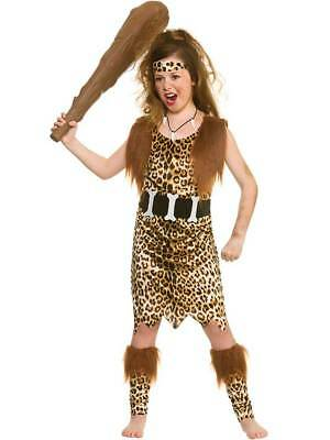 Girls Cavegirl Fancy Dress Costume Cave Stone Age Kids Tarzan Jungle 5-13 Years