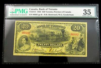 Rare Canada Bank of Toronto 1935 Issue $20 Note -PMG CH VF 35- Pick# S693 PG 202