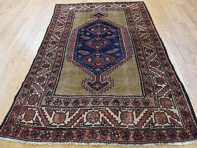 """4'3""""x5'10"""" Antique Camel Hair Hand Knotted Fine Oriental Rug R41249"""