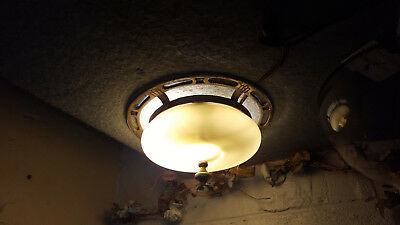 VINTAGE ART DECO 1920's 1930's Flush Metal Ceiling Light Fixture ORIGINAL GLASS