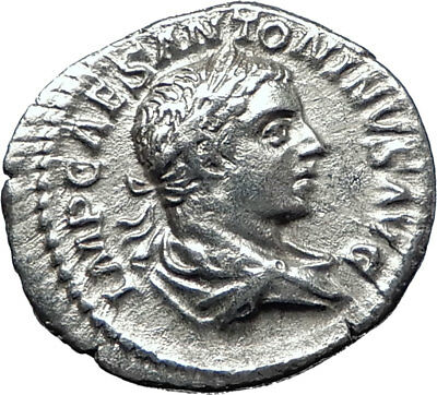 ELAGABALUS 219AD Rome Authentic Ancient Silver Roman Coin VICTORY i70300