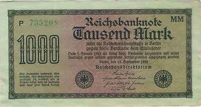 1922 1000 Mark Germany Currency Reichsbanknote German Banknote Note Bill Cash