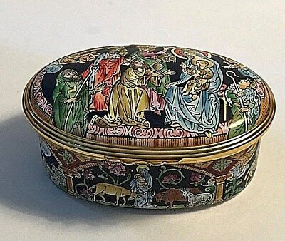 Halcyon Days Enamels England Musical Trinket Box 'Silent Night' Nativity Scene