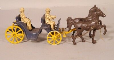 Antique Cast Iron STANLEY Toy Co Horse and Buggy w Driver & lady