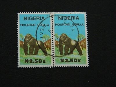 Nigeria Stamps SG 602 joined pair Fine Used top value of set issued 1990 N2.50k.