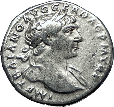TRAJAN  105AD Rome Authentic Genuine Ancient Silver Roman Coin Victory i70304