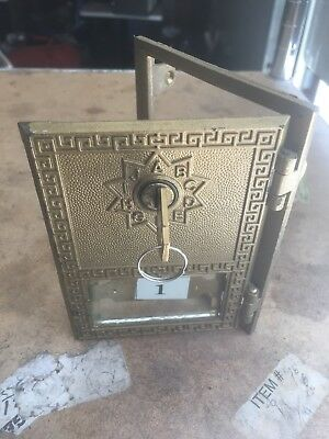 VINTAGE BRASS POST OFFICE POSTAL BOX DOOR & FRAME With Matching key Antique Old
