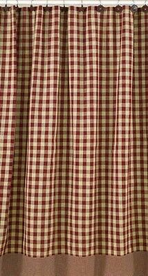 Country Primitive Homespun York Wine Shower Curtain Rustic Farmhouse Burgundy
