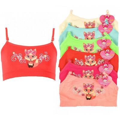 6 Pc Girls Training Bra Seamless Top Cute Underwear Stretch Kids Youth Size S