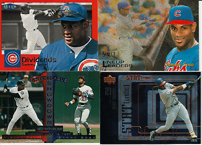 SAMMY SOSA Chicago Cubs (4) Baseball Card Lot - All-time hitting great DOMINICAN