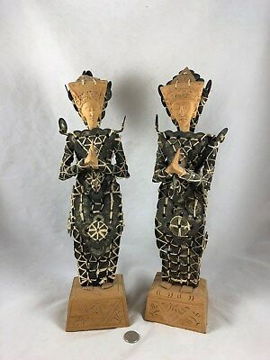 """Vintage Trad BALINESE Goddess Dewi Sri Coin Statue Pair 16"""" Kepeng Chinese Coins"""