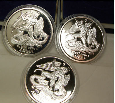 1995 Isle of Man 3 Michael The Dragon Slayer Arch Angel .999 Fine Silver Coins