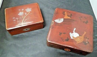 Pair of Vintage, Hand Painted, Trinket Boxes - 1 with key - Possibly Oriental