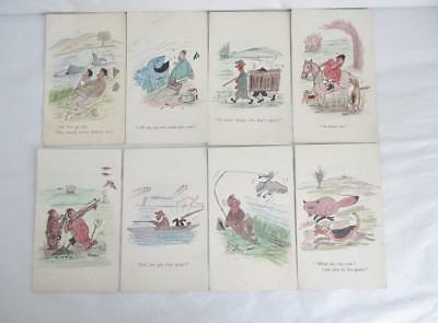 Set 8 Vintage Novelty Postcards Humorous Sports Hunting, Fishing Etc Pasque