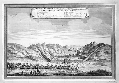 ca. 1750 Great Wall of China Chinesische Mauer view Kupferstich antique print