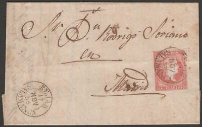 Spain 1856 Queen Isabella II 4c Cover Used Bejar to Madrid