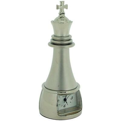 Miniature Silver Tone Metal Chess King Piece Novelty Collectors Clock IMP89S