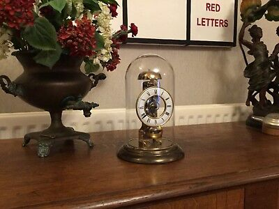 Vintage Hermle Skeleton Clock Under Glass Dome in Working Order.