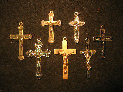 7 VINTAGE ROSARY CROSSES, Christian Crucifixes, Religious Relics, Collectable
