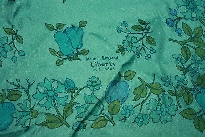 Liberty of London 100% silk scarf blue pears, plums flowers design 22 inch sq