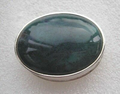 Beautiful oval Sterling Silver pill box set with green Moss Agate
