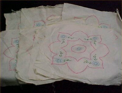 8 Vintage Antique Quilt Block Cotton Fabric Hand Embroidered Kit Pink Blue 50s
