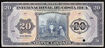 Costa Rica P176p Banco Internacional de Costa Rica 20 Colones NS,ND AU