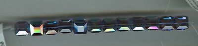 24 # Art 5601 Swarovski 8Mm  Cube  Beads   ***tanzanite Ab * Lot O11