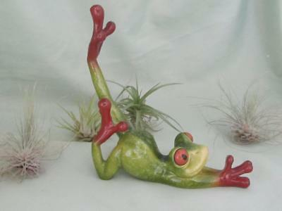 YOGA GREEN TREE FROG TROPIC CRITTER Golden Pond RESIN Sculpture FREE SHIP
