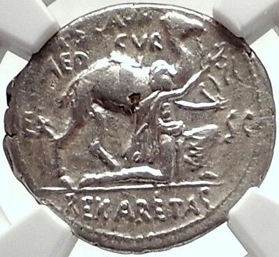 Pompey the Great General vs Aretas III Arab Nabatea Silver Roman Coin NGC i70335