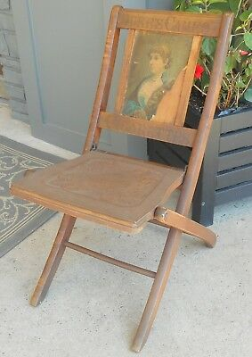 Antique Victorian Duke's Cameo Cigarettes Advertising Wood Folding Chair 2 Signs