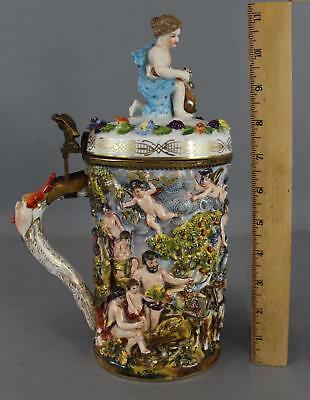 Antique German Capodimonte Porcelain Stein Mythological Nudes Grotesque Grapes