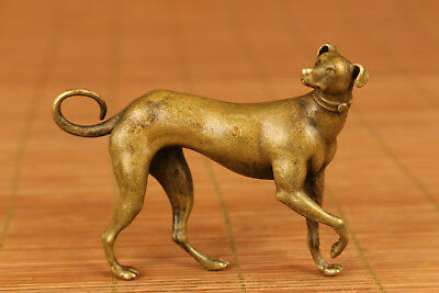 20th Vintage Chinese Old Bronze Hand Carved Qing Dynasty Dog Rare Statue figure