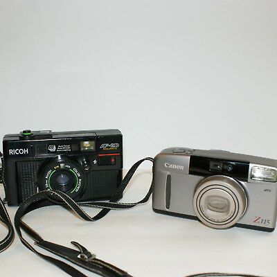 Lot of 2 Film Cameras Ricoh AF-2D and Canon Sure Shot Z115  untested
