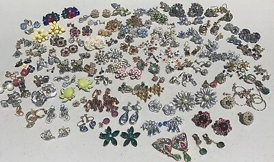 100 Pr Vintage RHINESTONE Earrings Lot of ESTATE COLLECTION Of Mixed Earring Lot