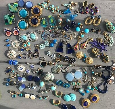 67 Pr Vintage BLUE Earrings Lot of ESTATE COLLECTION Of Mixed Earring Lot