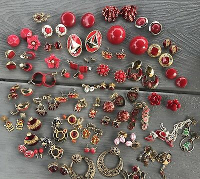 29 Pr Vintage RED Earrings Lot of ESTATE COLLECTION Mixed Earring Lot