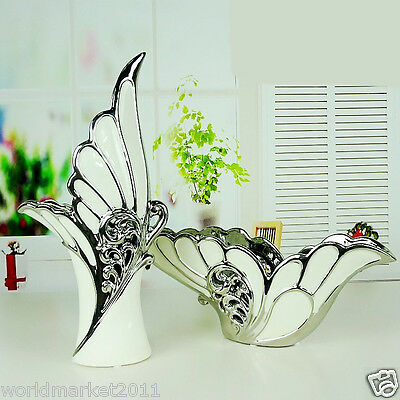 European White+Silver Ceramic Butterfly Shape Home Accessories Decoration Boxes