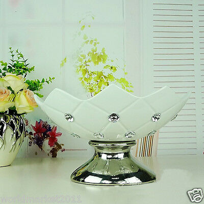 Modern Simplicity White+Silver Ceramic H 17cm Home Accessories Decoration Plant