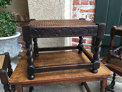 Antique English Carved Oak BARLEY TWIST Bench Stool Cane Woven Display Table