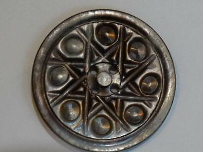 Gorgeous Shimmery Large Antique Mother Of Pearl Shell Carved Star Button 1-1/8""