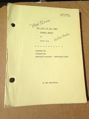 THERESE RAQUIN Original 1961 TV MOVIE SCRIPT Signed by Peter Mark Richman