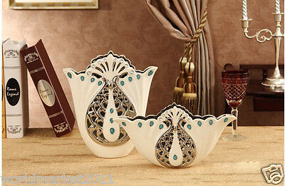 European Hollow Out White+Silver Ceramic Home Accessories Decoration Vase 2 Pcs