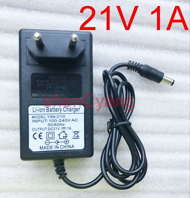 EU 21V 1A 1000mA charger adapter Ladegerät  for Lithium Ion Battery Li-ion