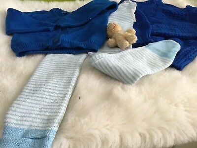 AUTHENTIC BABY GIRLS VINTAGE BUNDLE BLUE KNITS UNUSED 3/12m 1970s AUTHENTIC